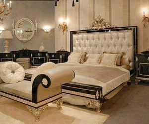 bedroom, luxury, and gold image