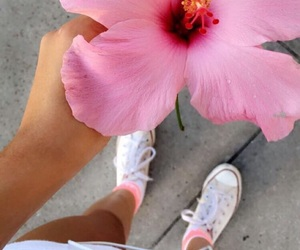 beach, converse, and flower image