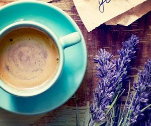coffee, flowers, and lavender image