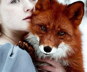 fox, girl, and animal image