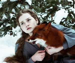winter, fox, and girl image