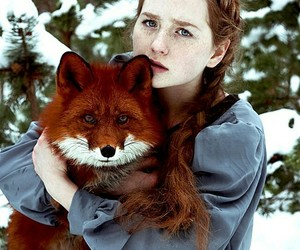 fox, snow, and girl image