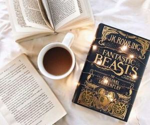 book, coffee, and fantastic beasts image