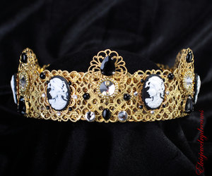 black and white, etsy, and crystal crown image