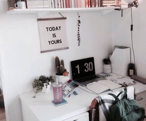 room, desk, and inspiration image