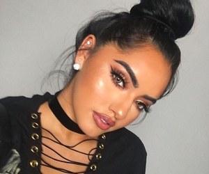 black hair, eyeshadow, and lashes image