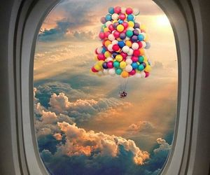 sky, balloons, and up image