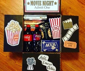 candy, coca cola, and popcorn image
