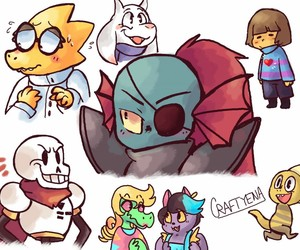 papyrus, frisk, and monster kid image