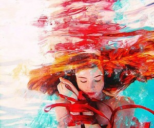 art, red hair, and water image