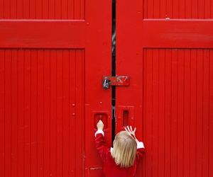 color, little girl, and red theme image
