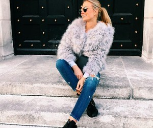 fashion, faux fur, and outfit image