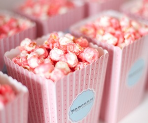 food, pink, and popcorn image