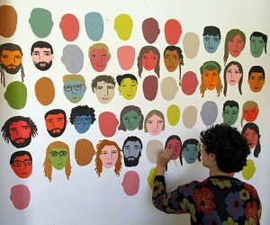 art, face, and wall image