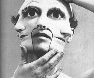 face, black and white, and mask image