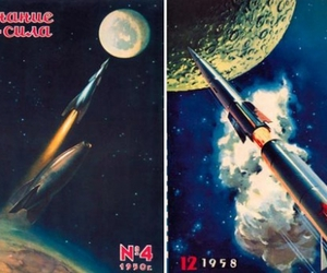 cover art, rockets, and pulp image