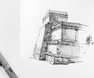 draw, house, and pen image