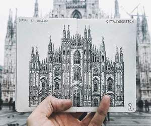 drawing, art, and building image