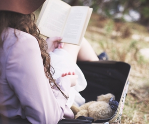 book, girl, and hat image