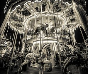 black and white, carousel, and photography image