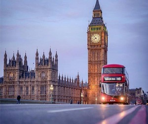 Big Ben, bus, and clock image