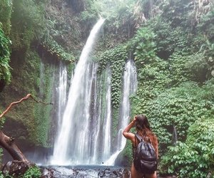 waterfall, girl, and nature image