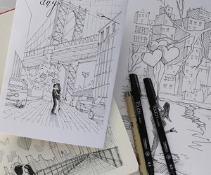 art, city, and heart image
