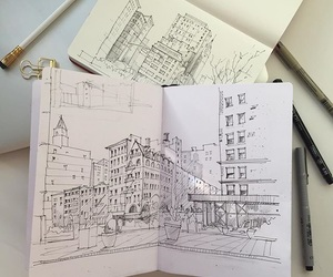 art, city, and sketch image