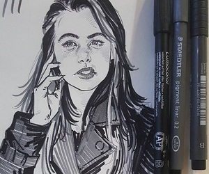art, girl, and ink image