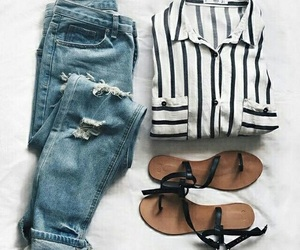 blouse, outfit, and stripes image