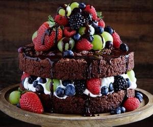 cake, fruit, and chocolate image