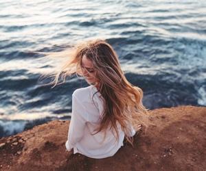 girl, hair, and ocean image