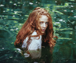 girl, water, and red hair image