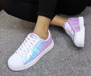 adidas, shoes, and holographic image