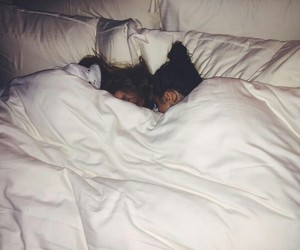 bed, models, and sleep image