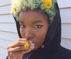 girl, flowers, and Afro image