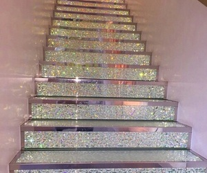 pink, glitter, and stairs image