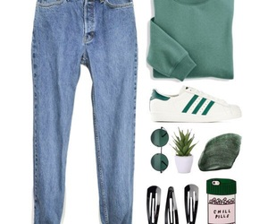 green, jeans, and outfit image