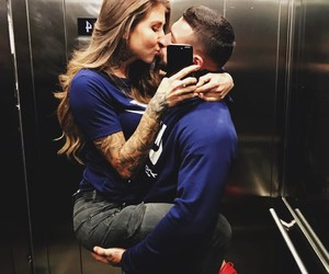 couple, fit, and kiss image