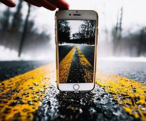 road, phone, and yellow image