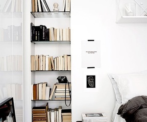 books, interior, and white image