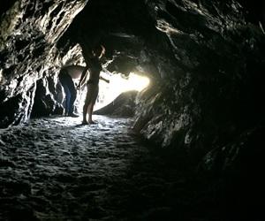 beach, caves, and dark image