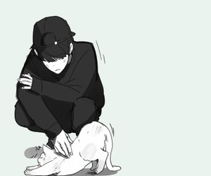 anime, boy, and cat image