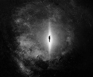 black and white, galaxy, and night image