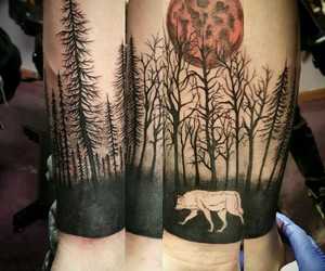 arm, dark, and forest image