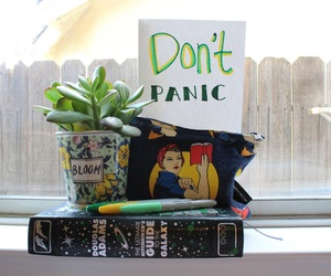 books, green, and hitchhikers guide to the galaxy image