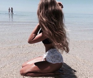 beach, brunette, and paradise image