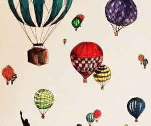 drawing, art, and balloons image