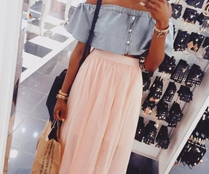 fashion, maxi skirt, and off the shoulder image