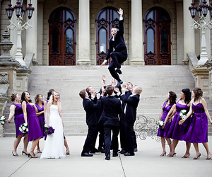 bridal party, groom, and bride image